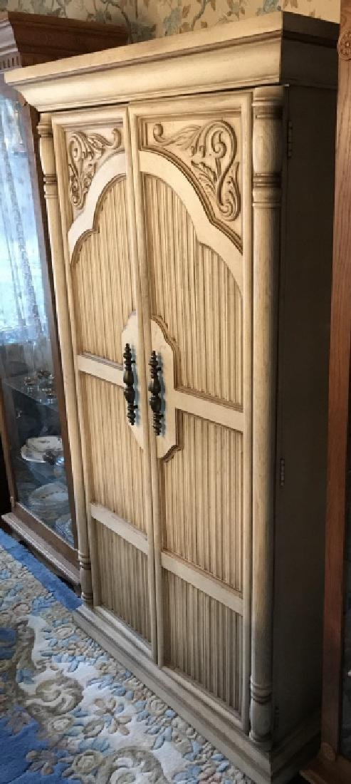 French Provencal Style Carved Door Armoire Cabinet - 3