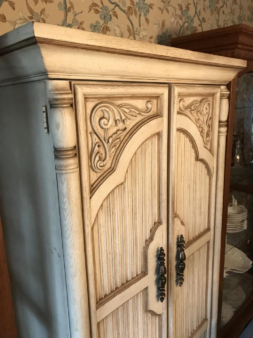French Provencal Style Carved Door Armoire Cabinet - 4