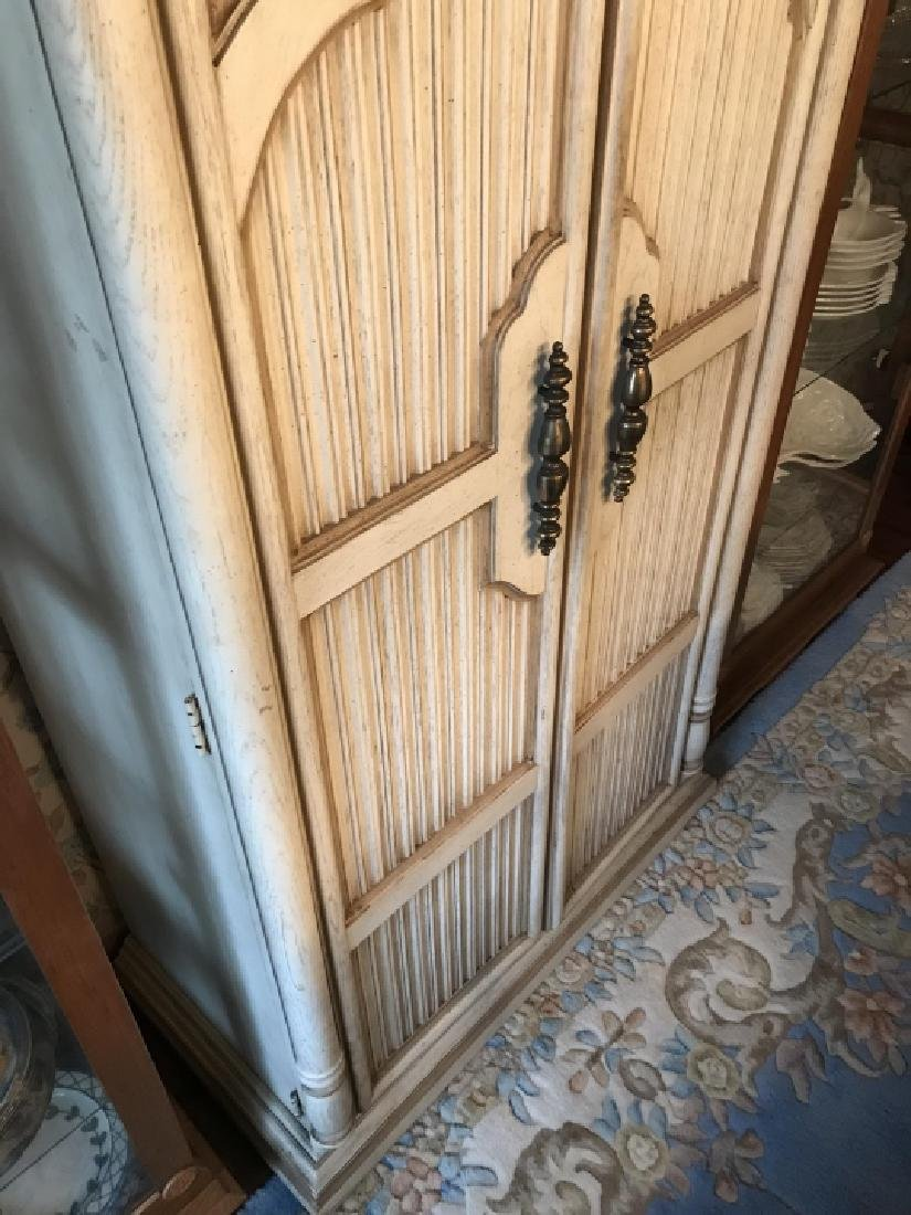 French Provencal Style Carved Door Armoire Cabinet - 5