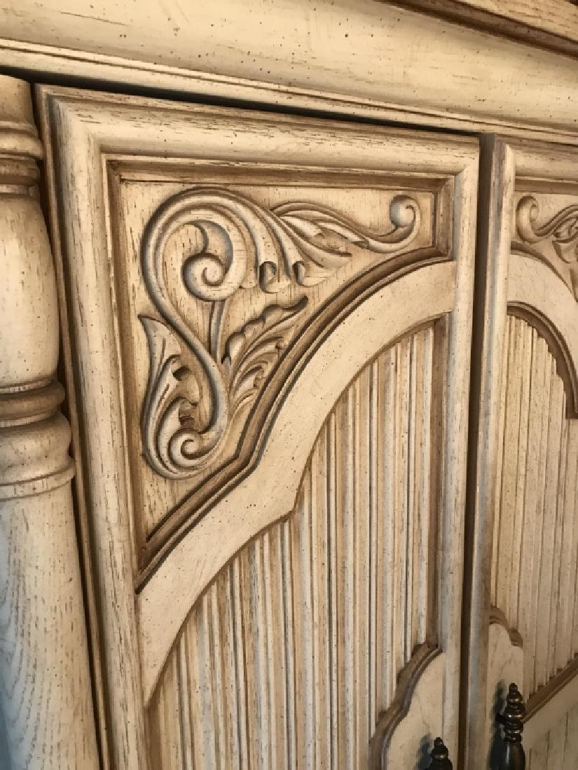 French Provencal Style Carved Door Armoire Cabinet - 6