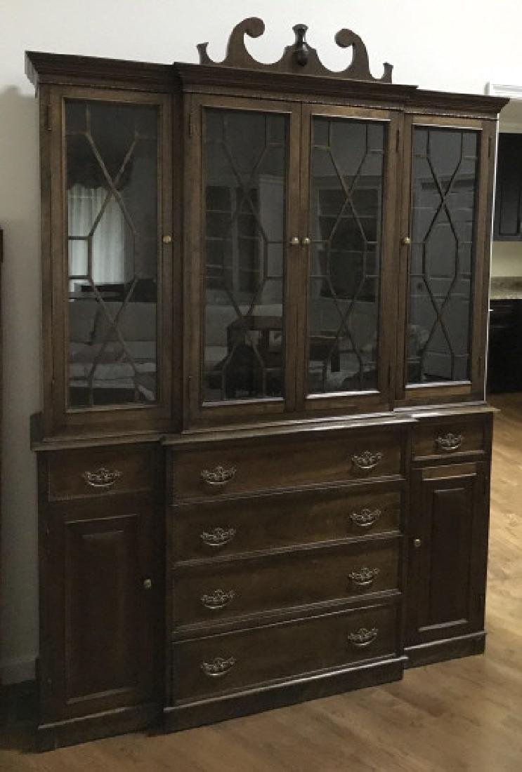 English Chippendale Style Breakfront Cabinet