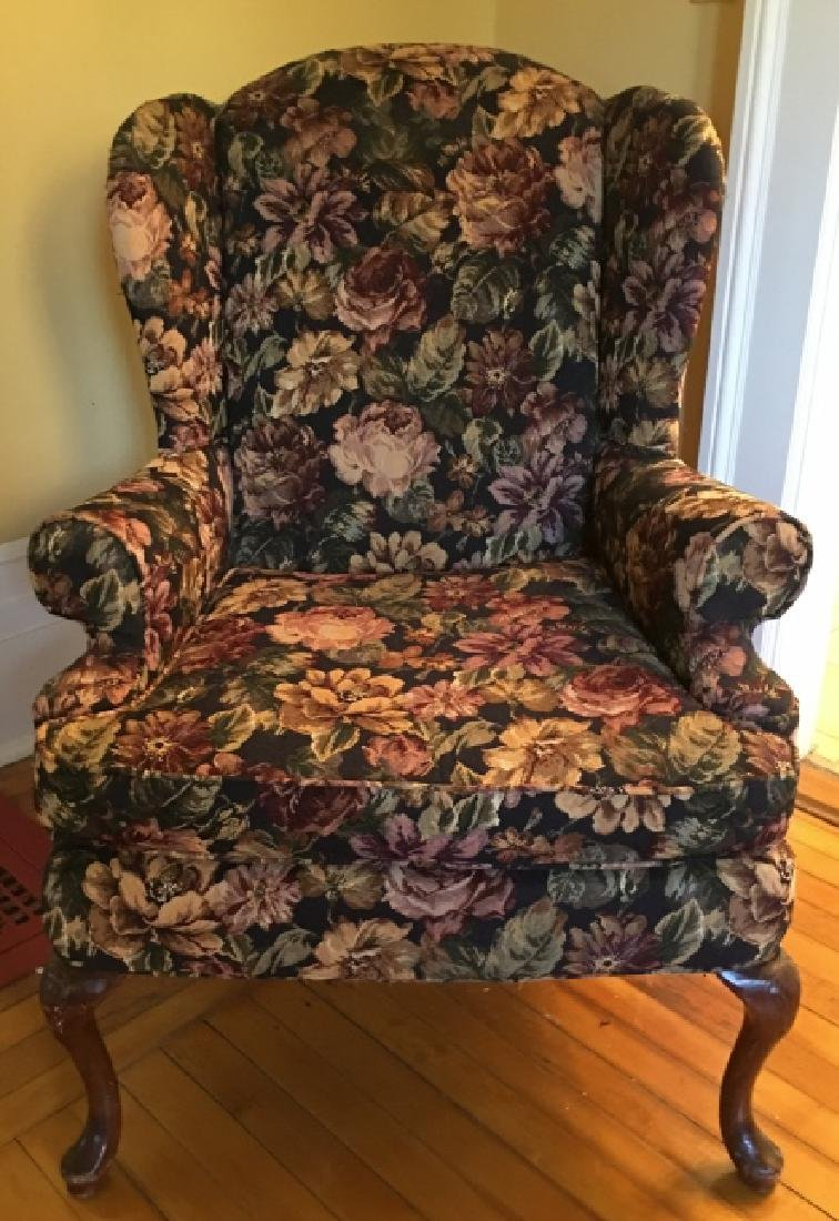 Queen Anne Style Upholstered Wing Back Arm Chair