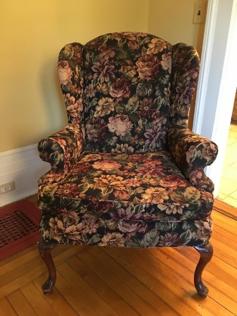 Queen Anne Style Upholstered Wing Back Arm Chair - 2