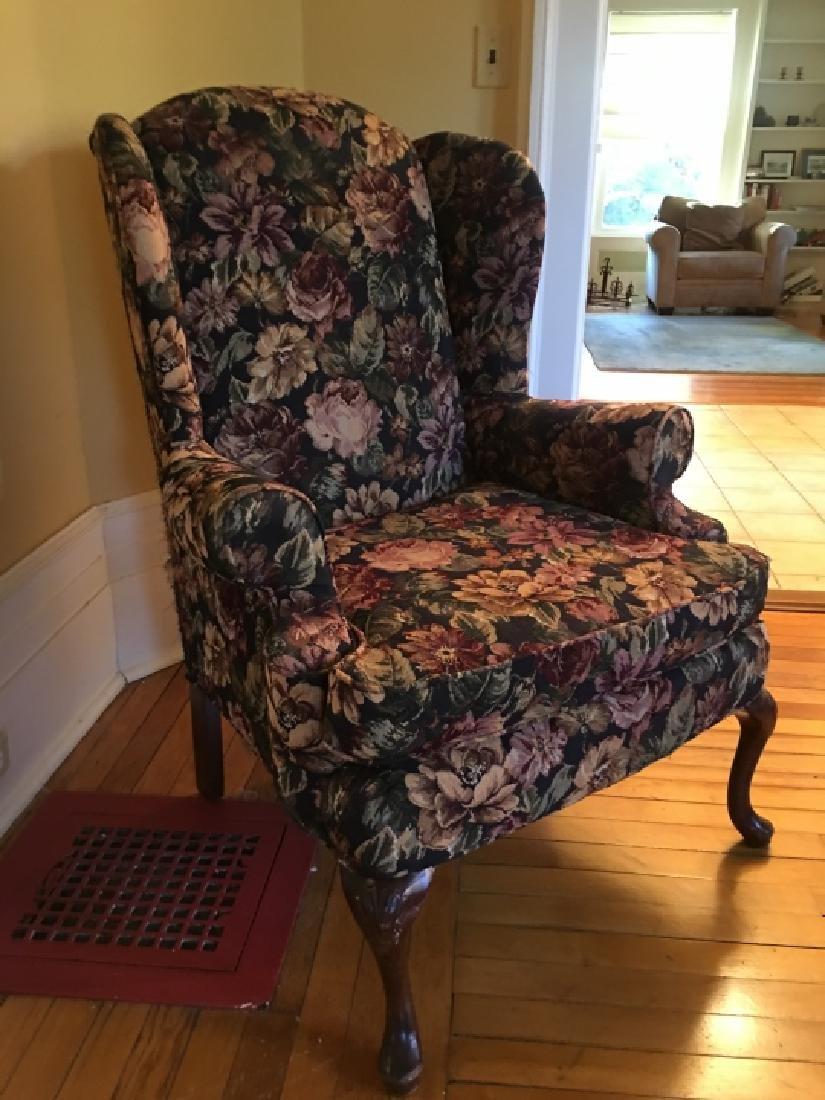 Queen Anne Style Upholstered Wing Back Arm Chair - 3