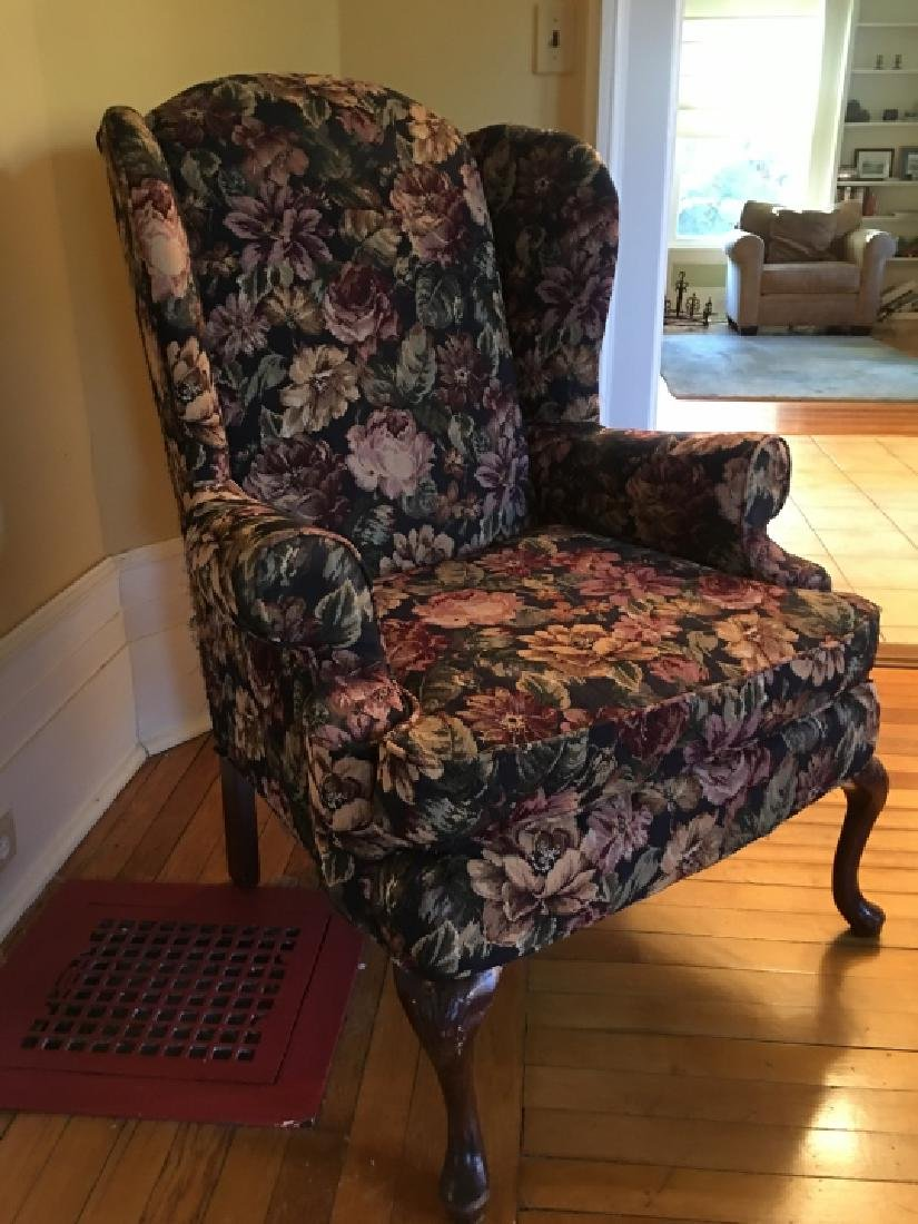 Queen Anne Style Upholstered Wing Back Arm Chair - 4