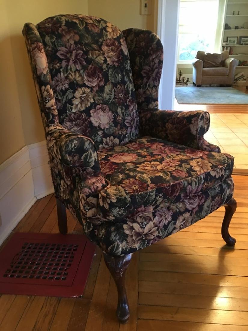 Queen Anne Style Upholstered Wing Back Arm Chair - 5