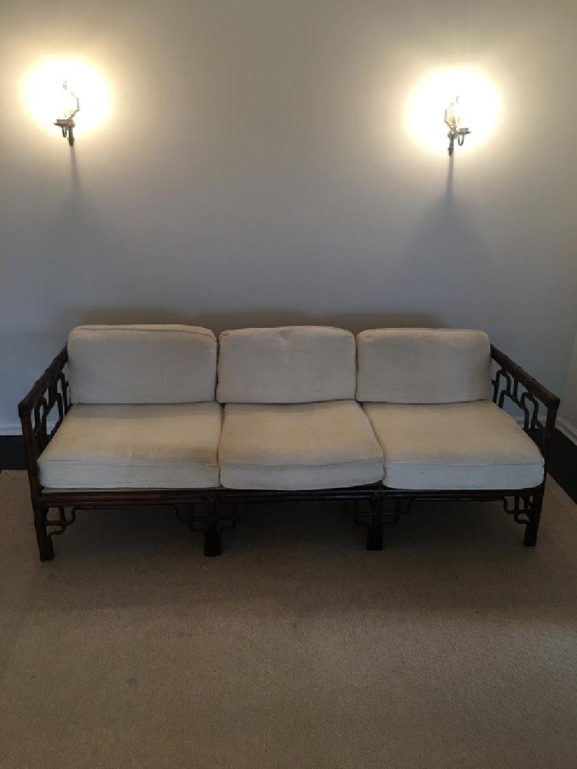Asian Style Bamboo Frame Settee / Sofa W Cushions - 8