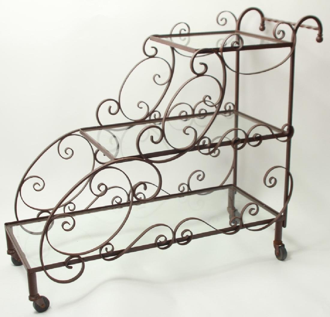 Mid Century Wrought Iron 3-Tier Bar or Garden Cart