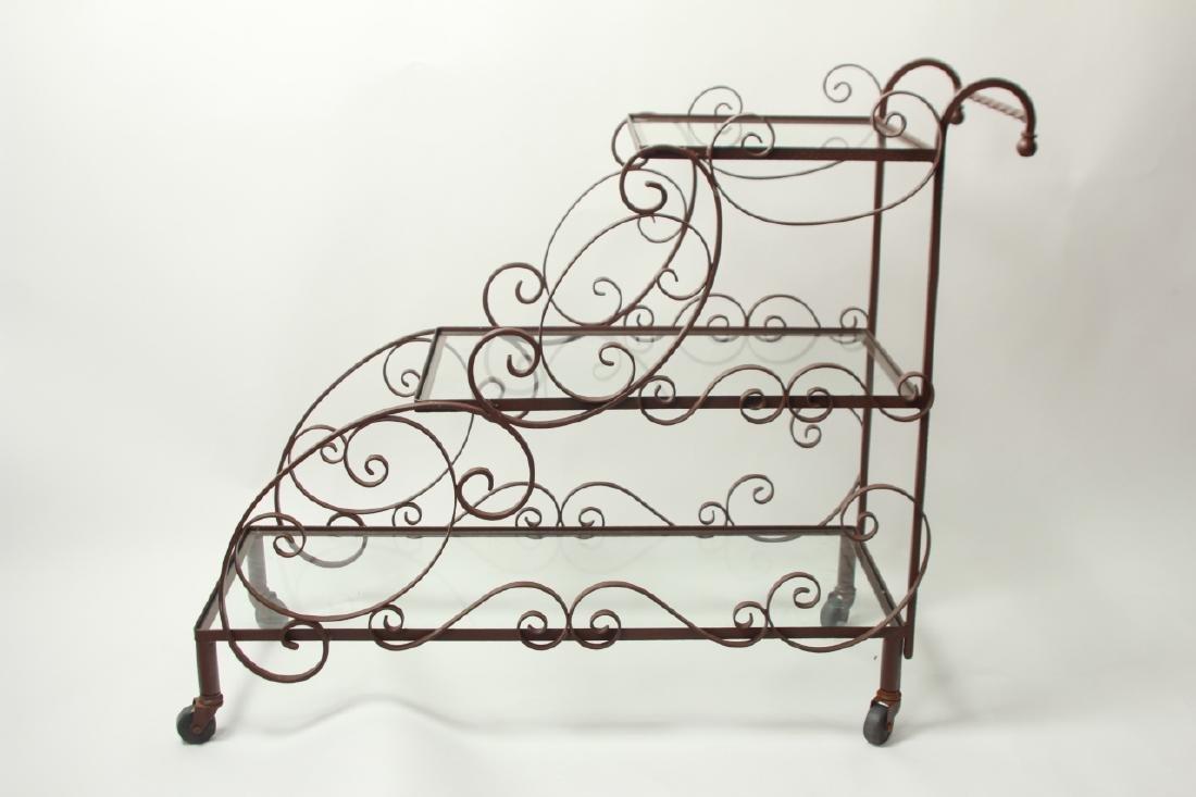 Mid Century Wrought Iron 3-Tier Bar or Garden Cart - 5