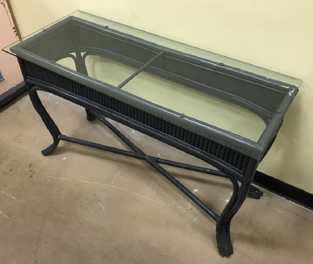 Painted Glass Top Bamboo Console Table - 3
