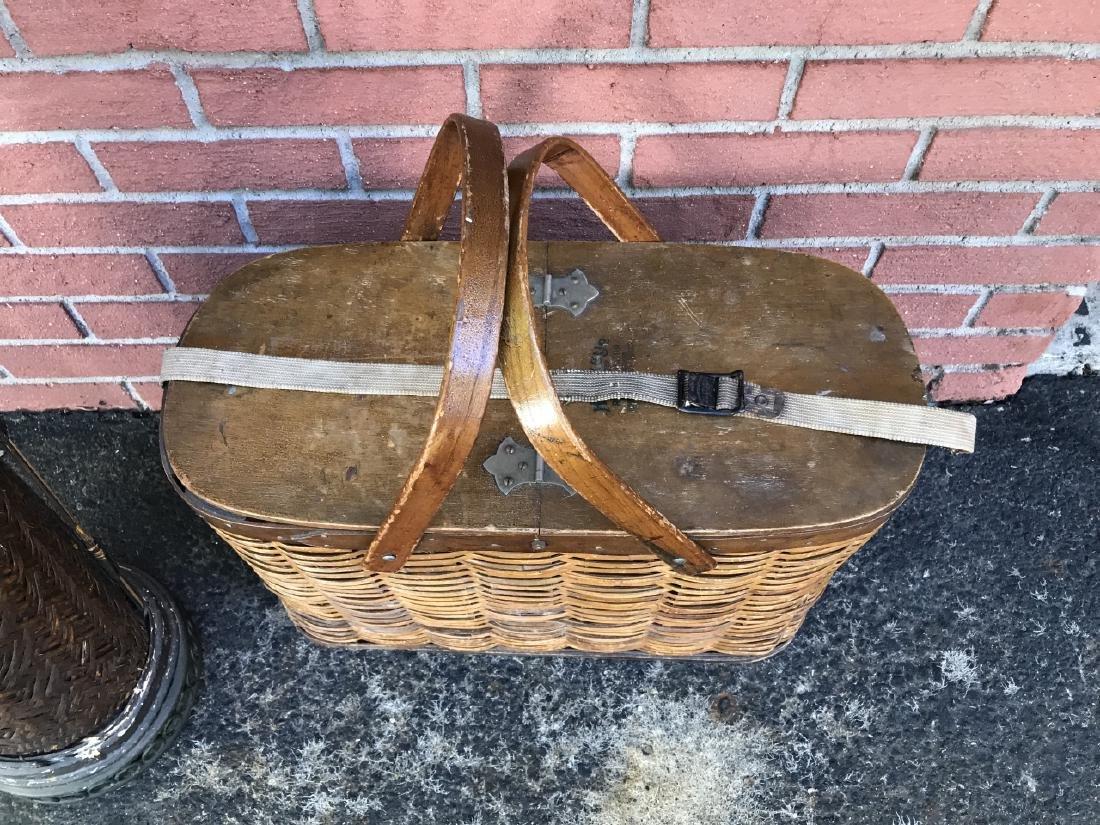 Woven Basket Umbrella Stand & Picnic Basket - 2