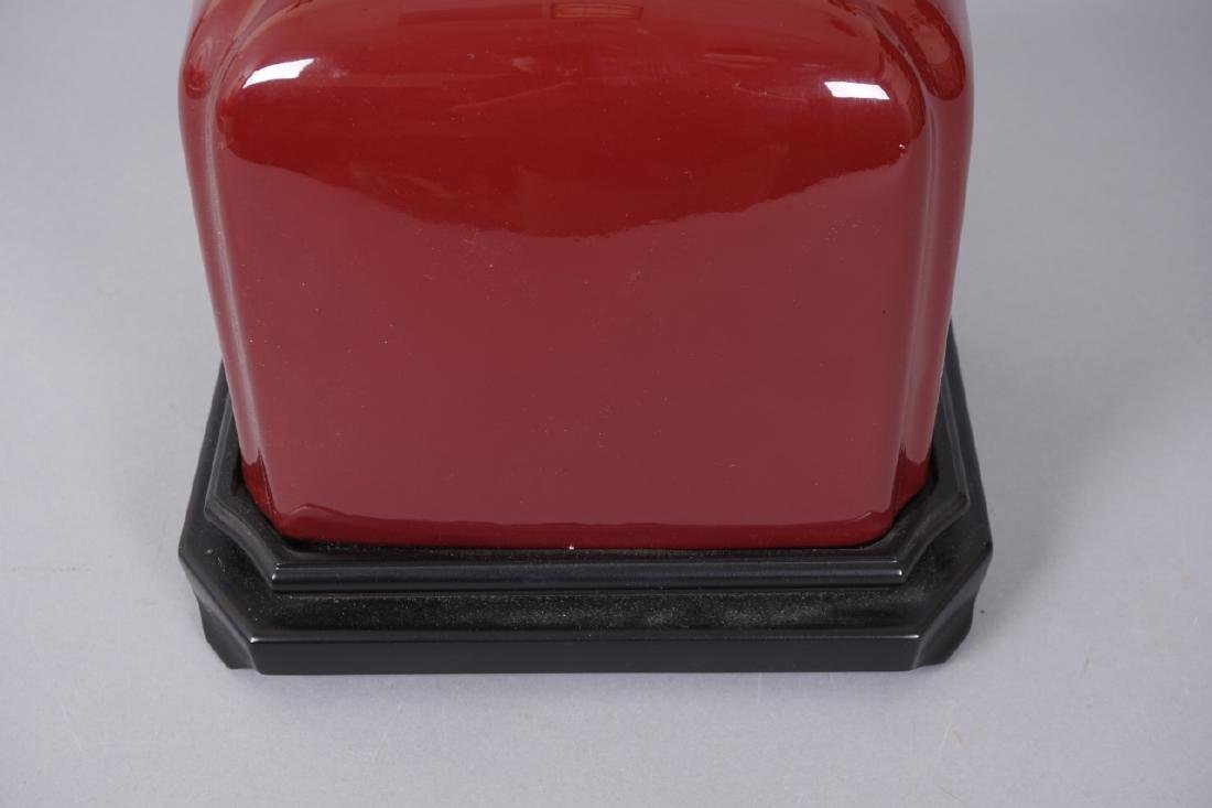 Chinese Oxblood Ceramic Table Lamp - 2