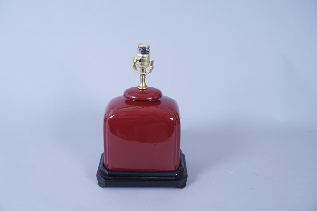 Chinese Oxblood Ceramic Table Lamp - 5
