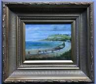 Gold Framed Coastal Landscape Oil Painting