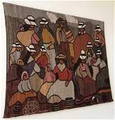 Large Vintage Woven Tapestry Signed Julio Montes