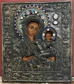 Antique 19th Century Russian Icon of Mother of God