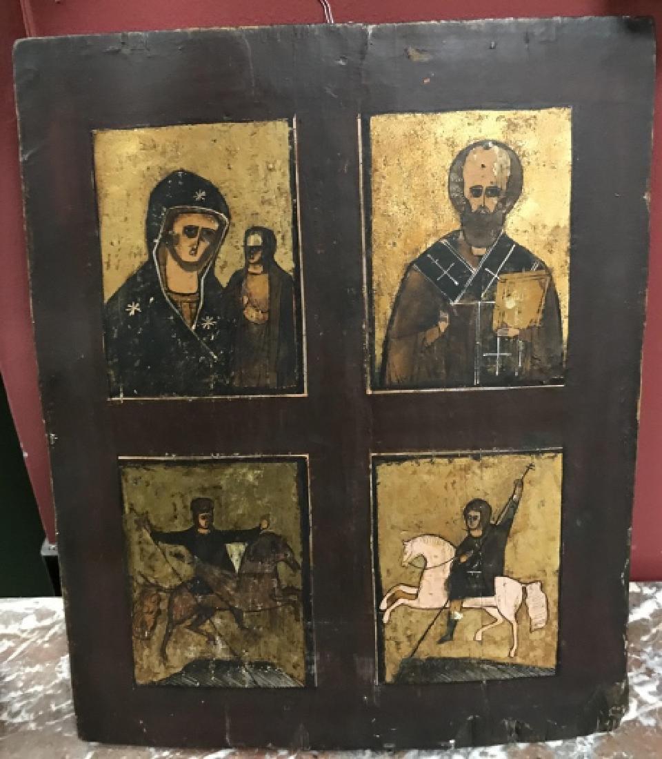 Antique 19th Century Russian Icon of Four Saints