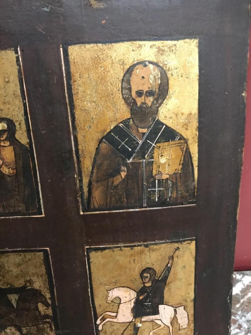 Antique 19th Century Russian Icon of Four Saints - 4