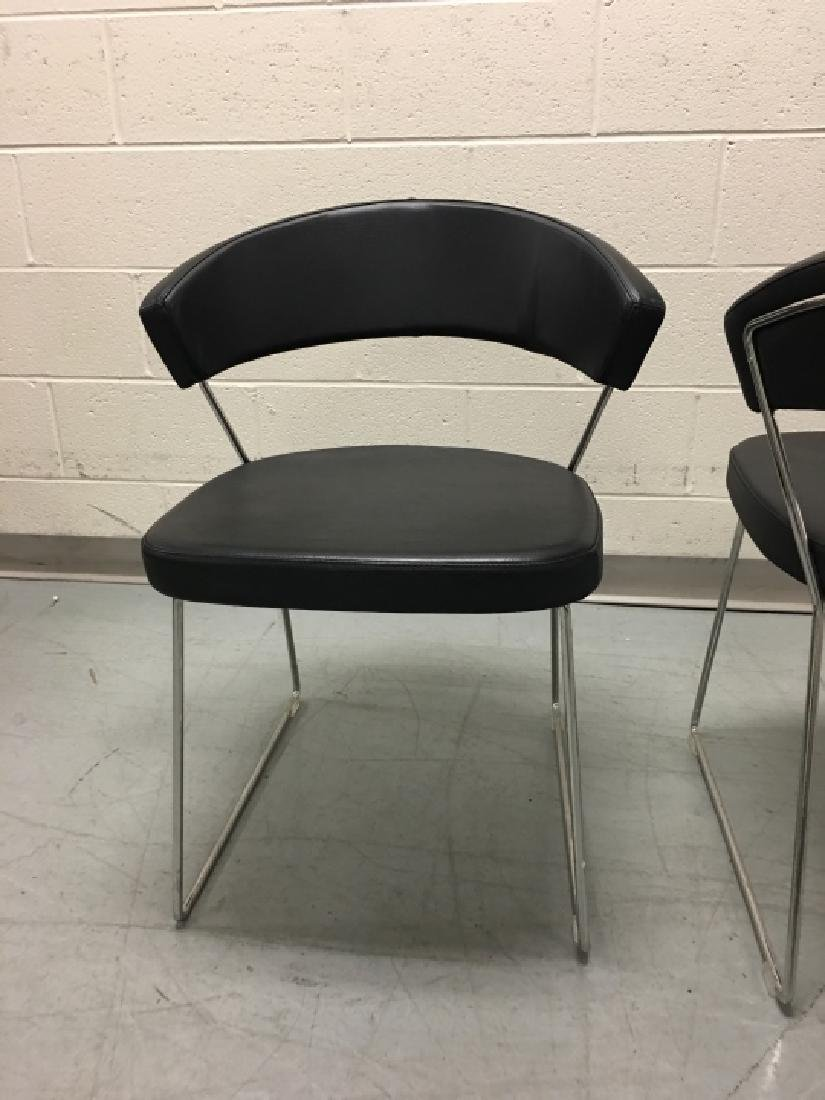 Pair Modernist Leather Side Chairs by Calligaris - 3