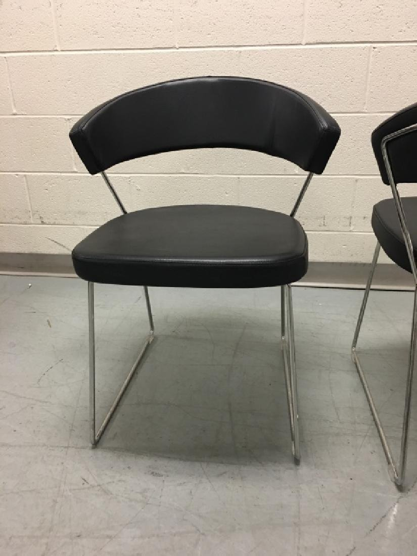 Pair Modernist Leather Side Chairs by Calligaris - 4