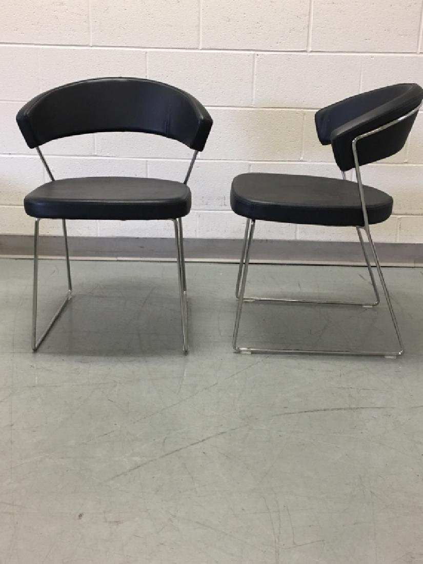 Pair Modernist Leather Side Chairs by Calligaris - 5