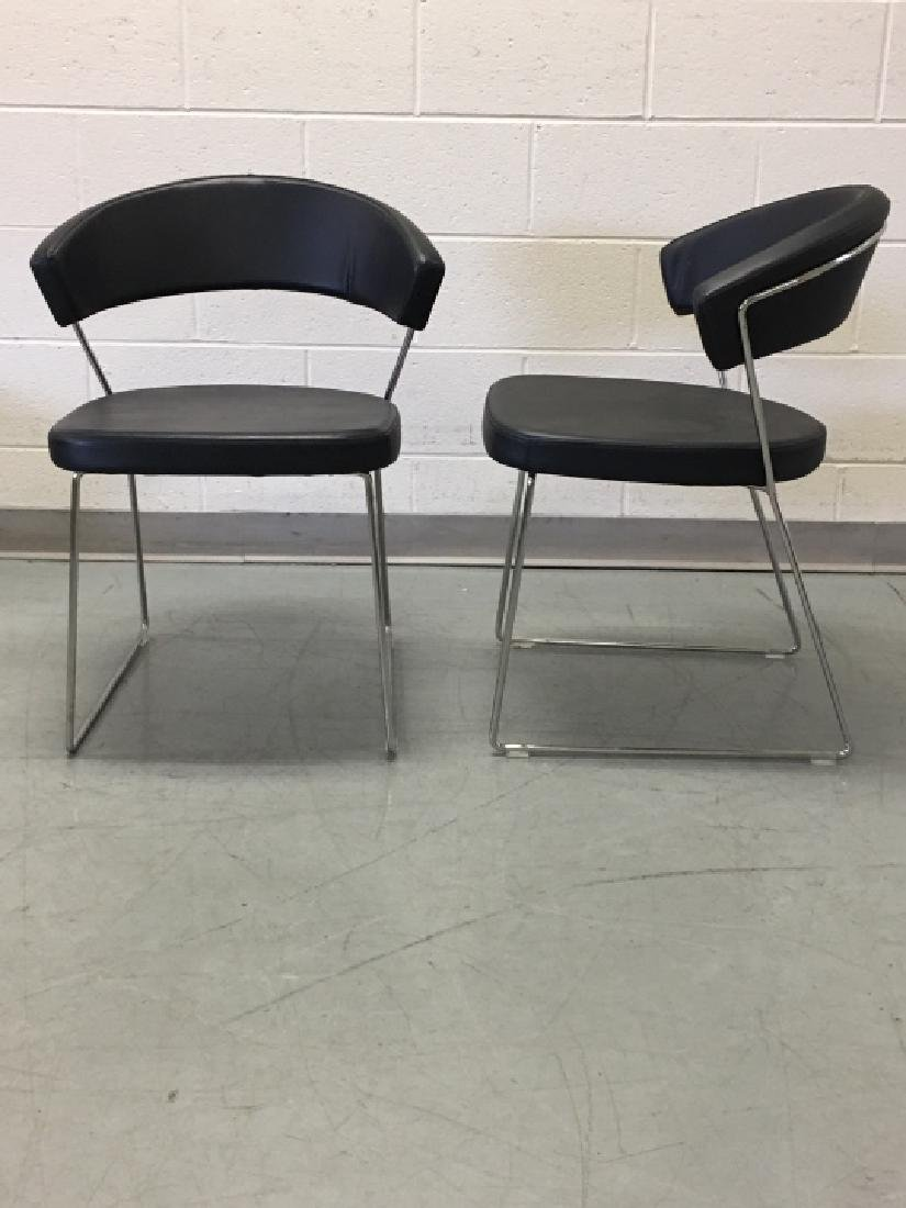 Pair Modernist Leather Side Chairs by Calligaris - 7