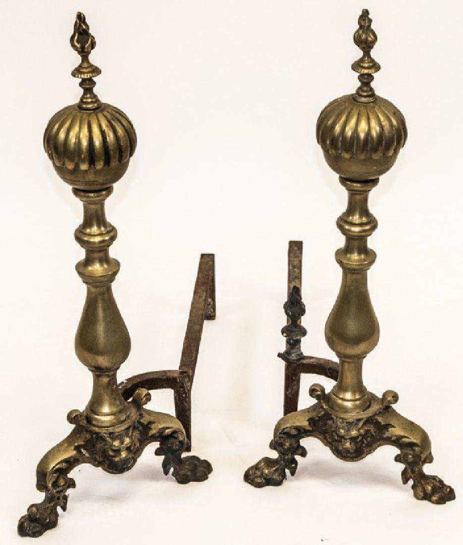 Pair Vintage Brass Hollywood Regency Andirons