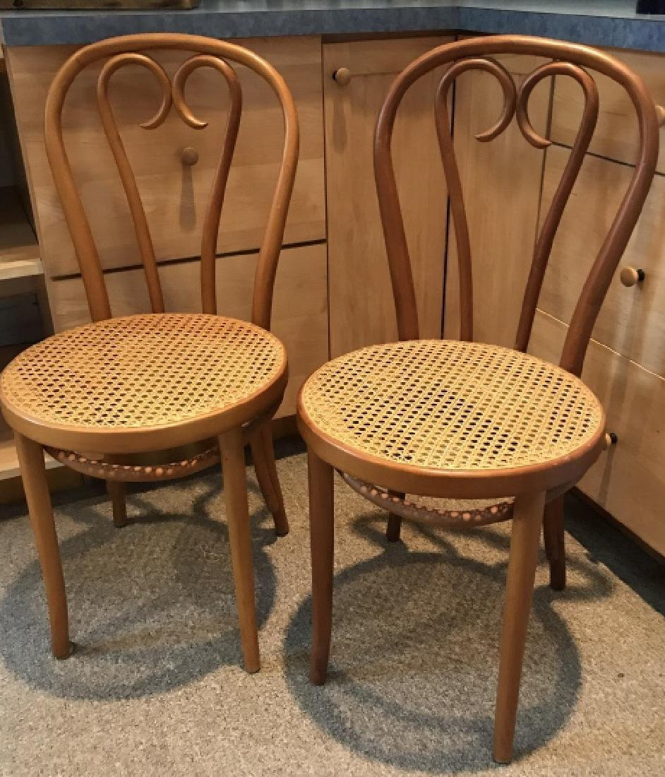 Pair Vintage Thonet Style French Cafe Side Chairs