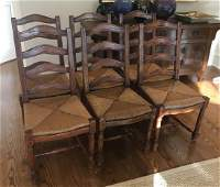 Six French Country Ladder Back Dining Chairs