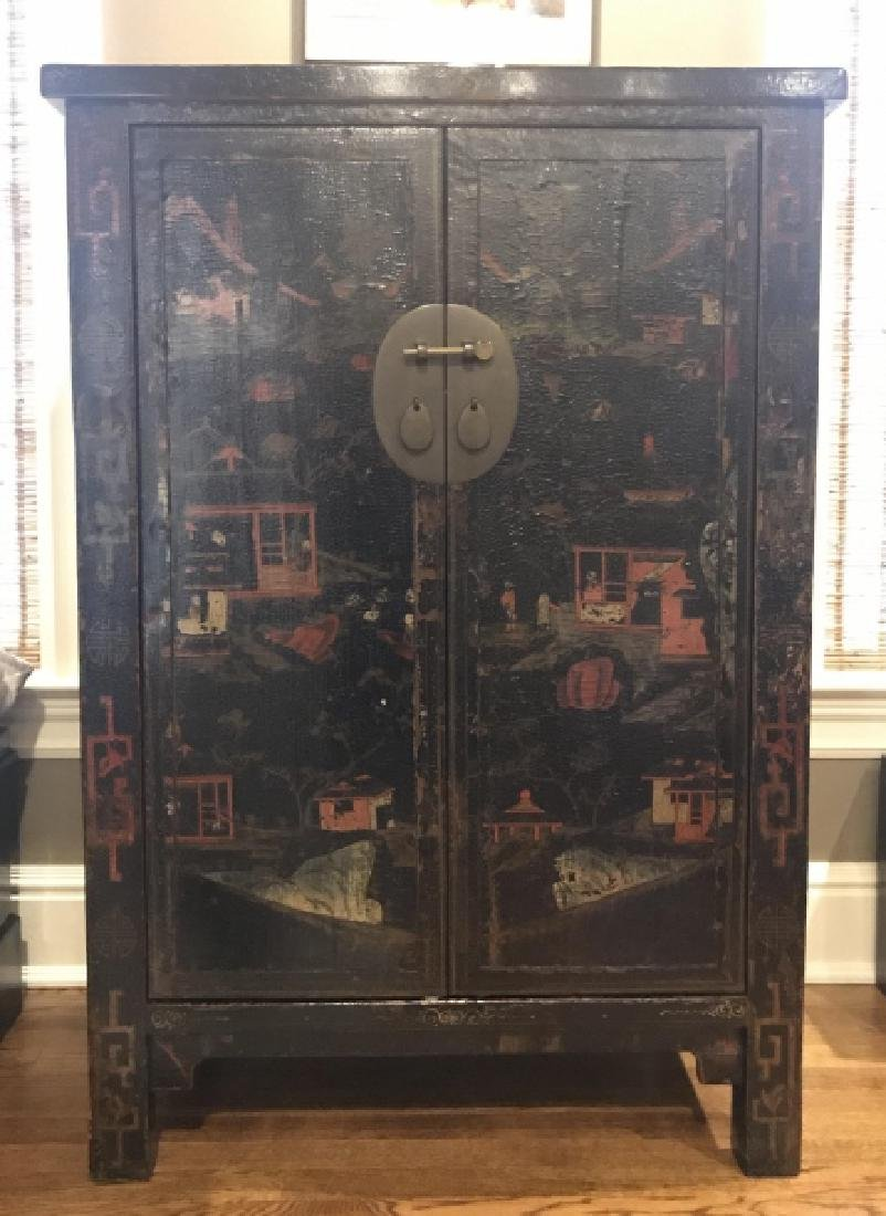Chinese Hand Painted Lacquered Cabinet Cupboard