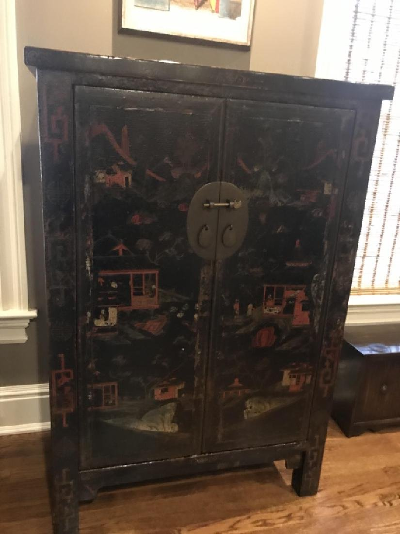Chinese Hand Painted Lacquered Cabinet Cupboard - 2