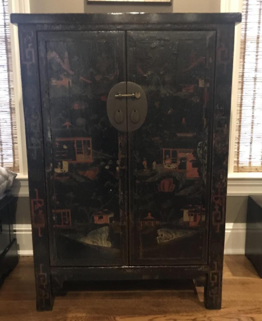 Chinese Hand Painted Lacquered Cabinet Cupboard - 3
