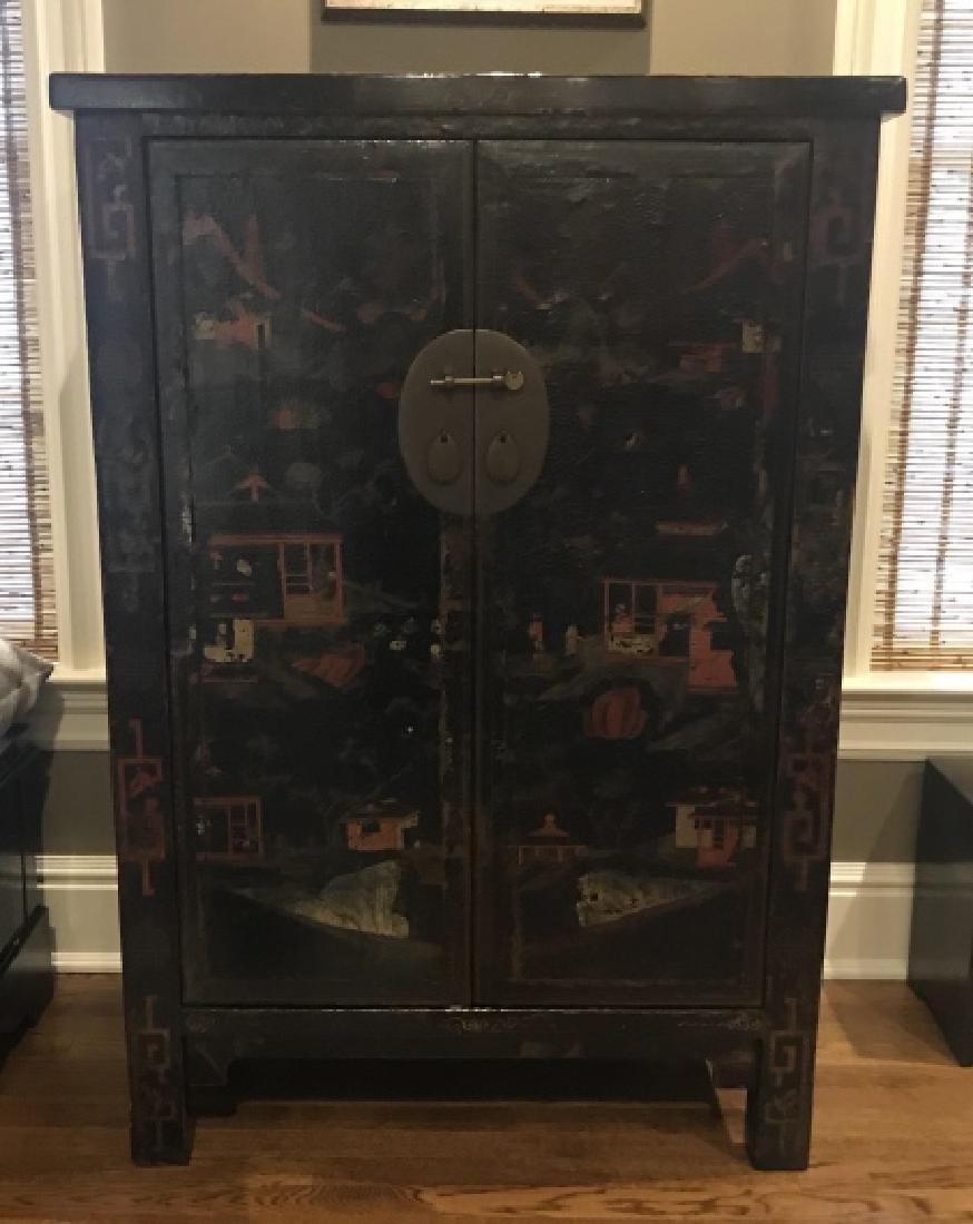 Chinese Hand Painted Lacquered Cabinet Cupboard - 5
