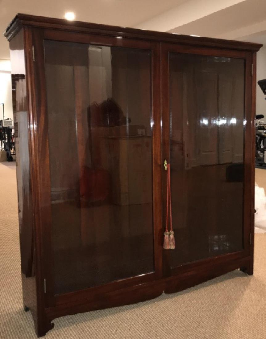 Antique High Gloss Glass Front Curio Bookcase