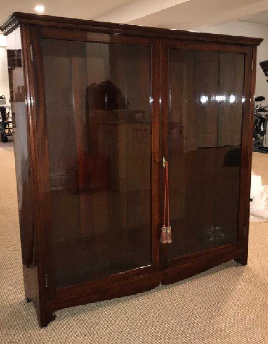 Antique High Gloss Glass Front Curio Bookcase - 3