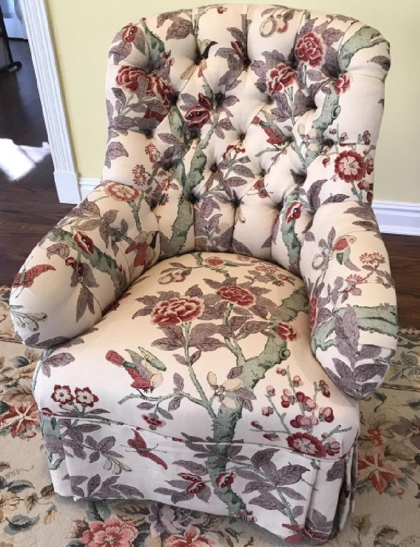 Custom Contemporary Fabric Chesterfield Armchair