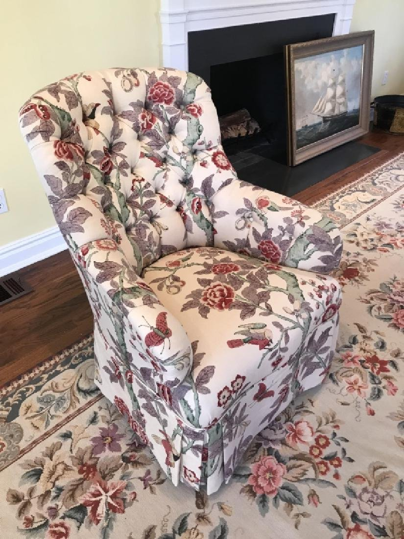 Custom Contemporary Fabric Chesterfield Armchair - 3