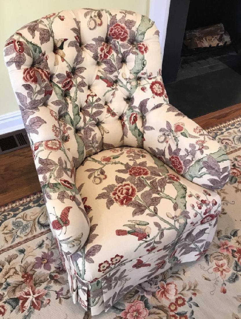 Custom Contemporary Fabric Chesterfield Armchair - 4