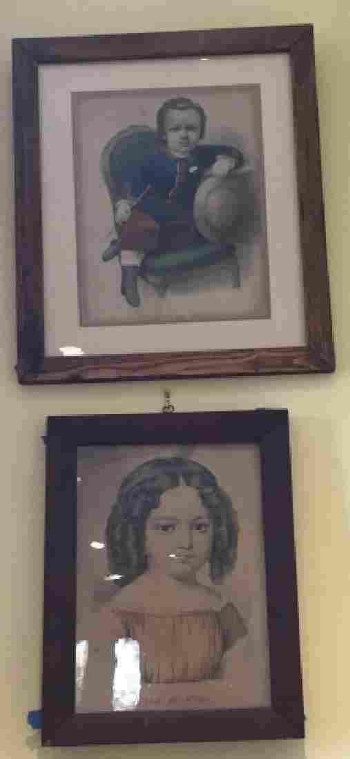Two Antique Currier & Ives Framed Children Prints