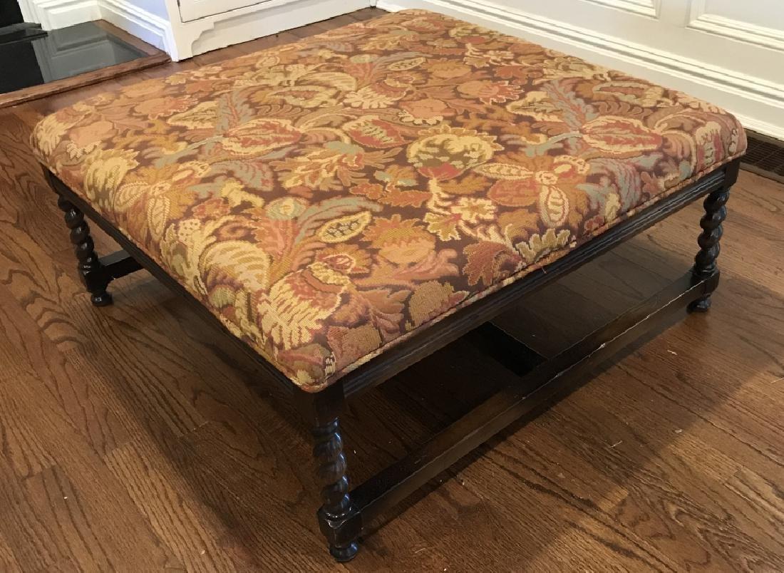 English Tudor Style Tapestry Fabric Ottoman Bench