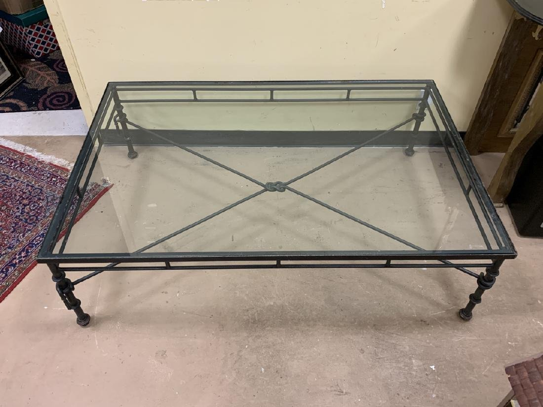Contemporary Wrought Iron Glass Top Coffee Table - 2