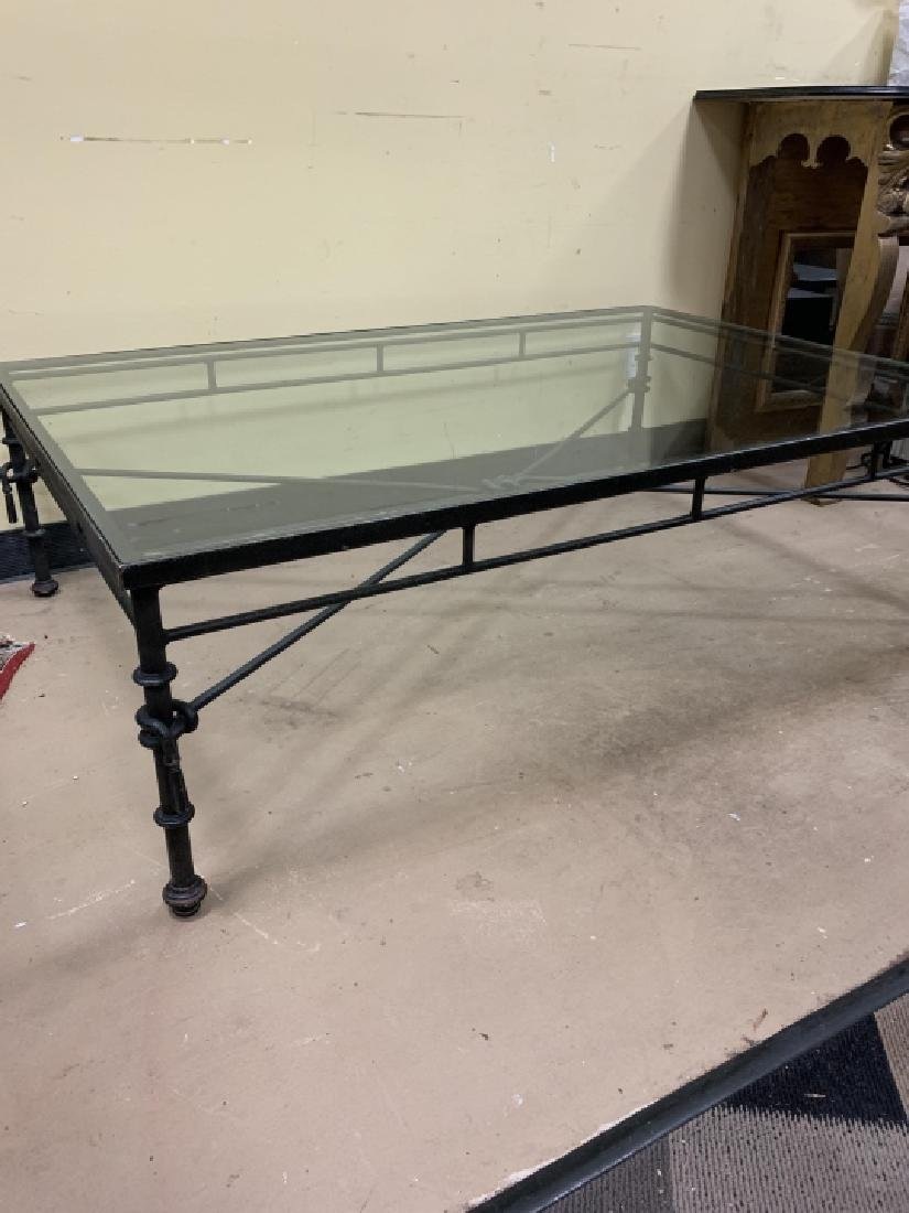 Contemporary Wrought Iron Glass Top Coffee Table - 3