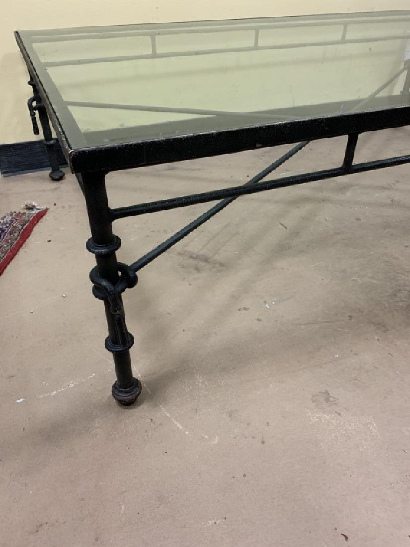 Contemporary Wrought Iron Glass Top Coffee Table - 4