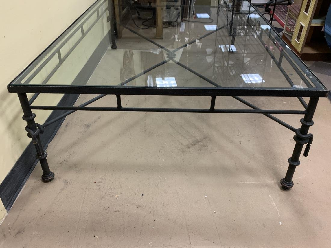 Contemporary Wrought Iron Glass Top Coffee Table - 5
