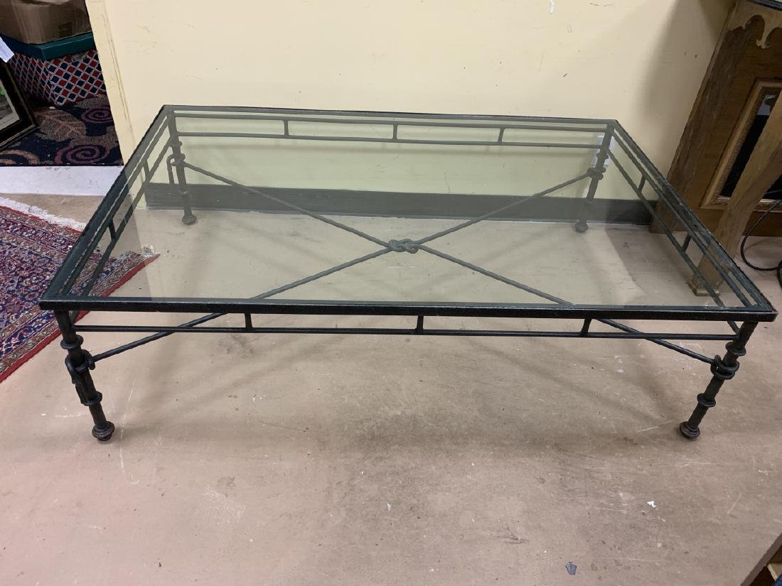 Contemporary Wrought Iron Glass Top Coffee Table - 7