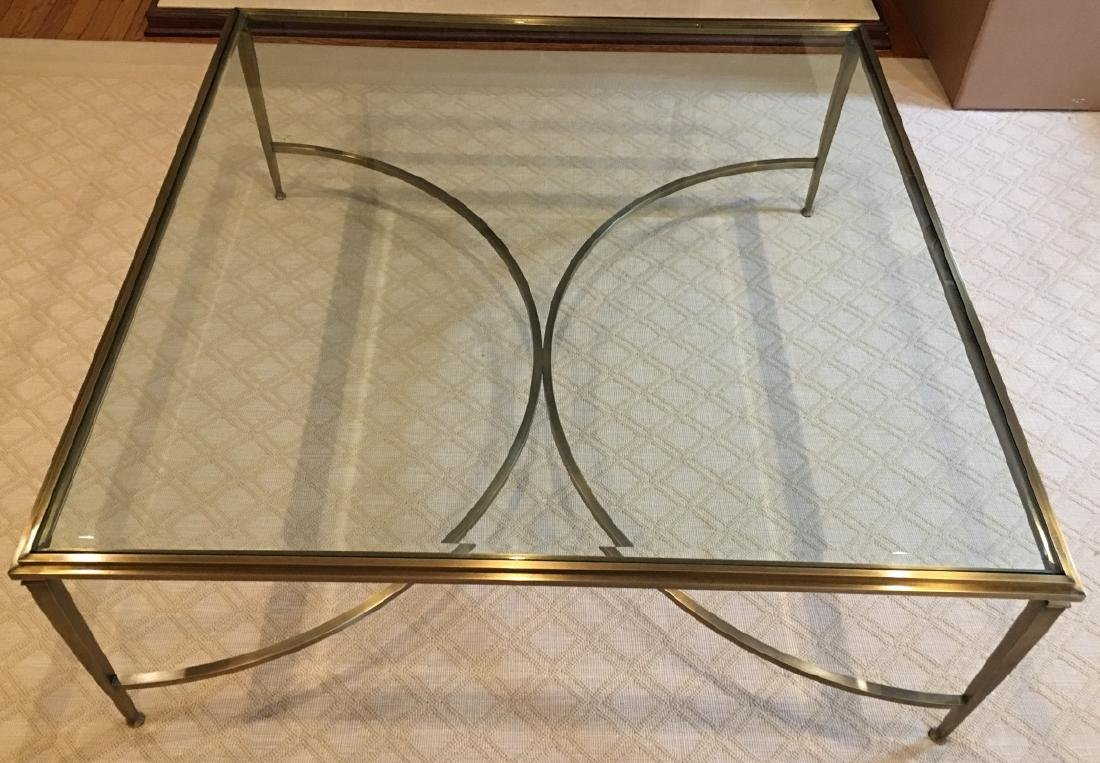 Custom Modern Beveled Glass & Brass Coffee Table