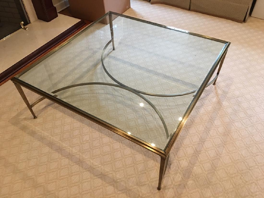 Custom Modern Beveled Glass & Brass Coffee Table - 2