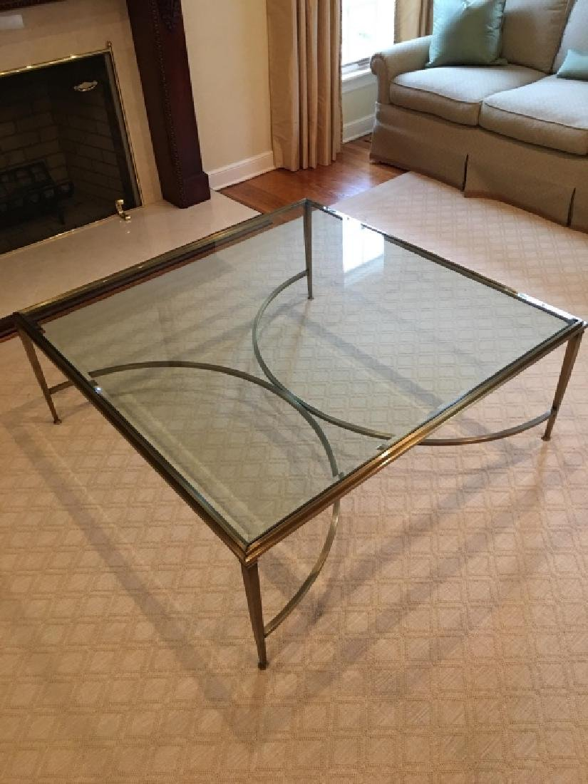 Custom Modern Beveled Glass & Brass Coffee Table - 3