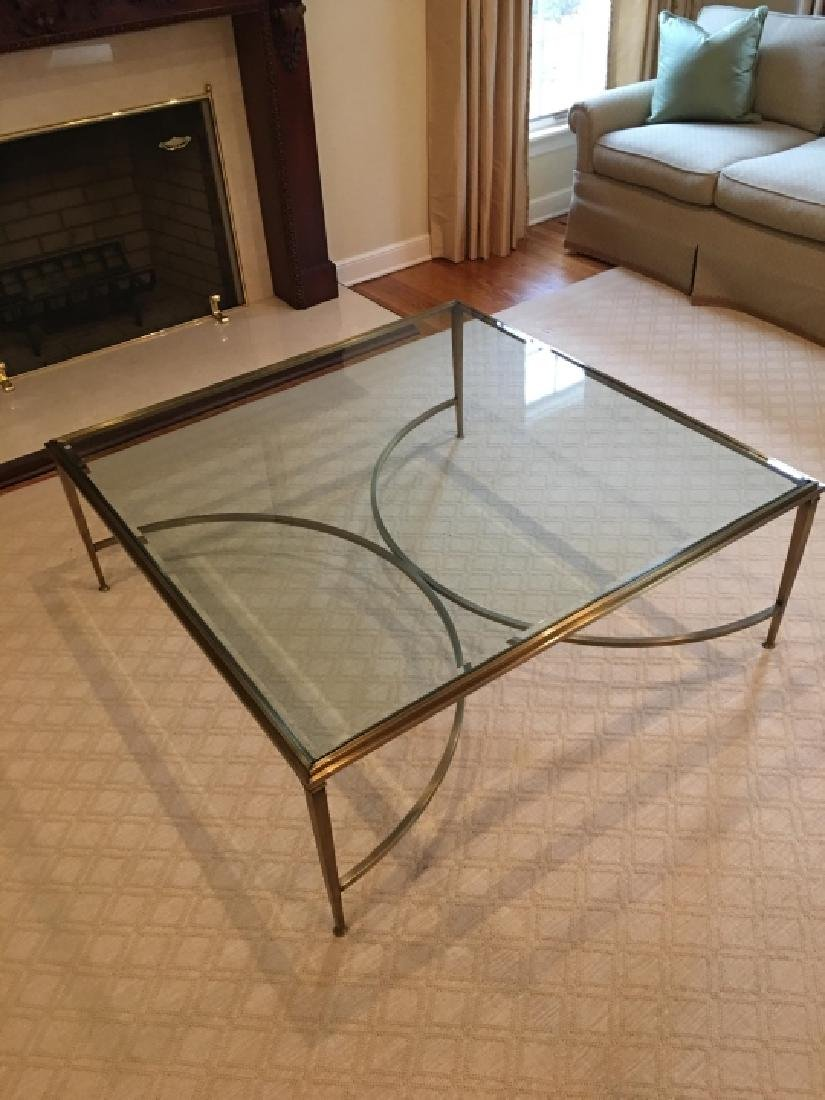 Custom Modern Beveled Glass & Brass Coffee Table - 4