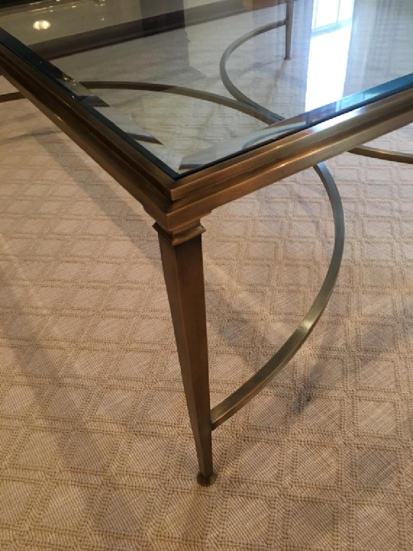 Custom Modern Beveled Glass & Brass Coffee Table - 5